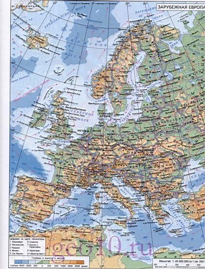 Карта зарубежной европы подробная