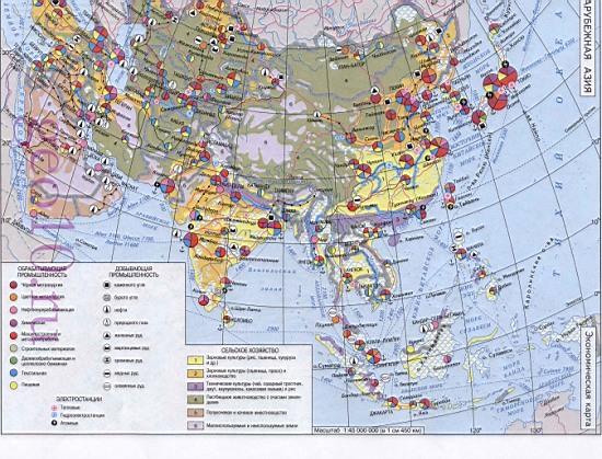 Экономическая карта зарубежной азии