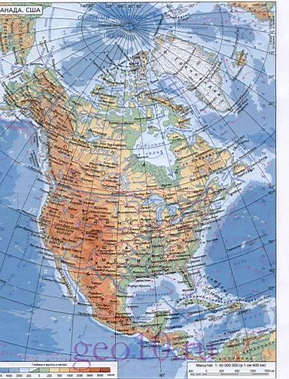 Карта америки физическая карта